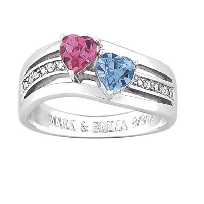 Personalized Two-Heart Birthstone Ring With Diamond Accents