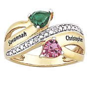 personalized ribbon birthstone couples ring