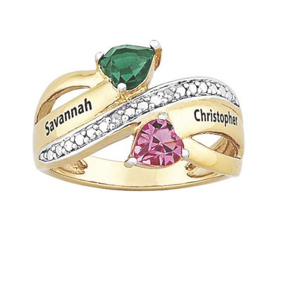 Personalized Couple's Birthstone Ribbon Ring