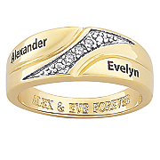 personalized name message band with diamond accents