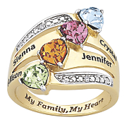 personalized family ring with simulated birthstones