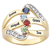 goldtone personalized family ring