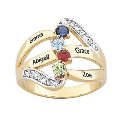 Personalized Goldtone Family Ring