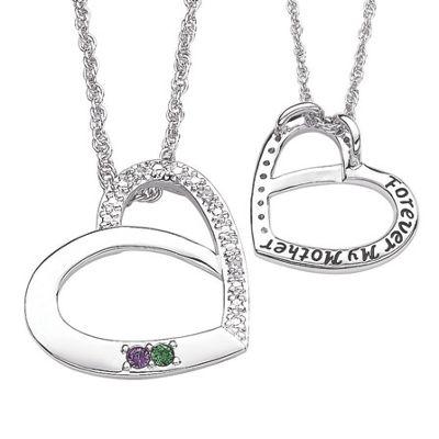 Silvertone Family Birthstone Pendant With Diamond Accents