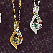 family birthstone teardrop pendant