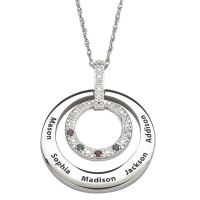 Personalized Dual Circle Family Pendant