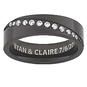 men s black titanium message band with cubic zirconias
