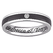 black silvertone stainless steel message band with cubic zirconias