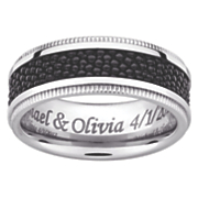 textured black titanium message band