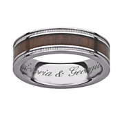 titanium wood message ring