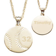 goldtone personalized sports ball pendant