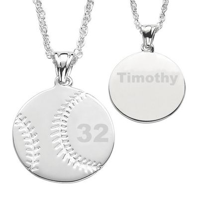 Personalized Silvertone Sports Ball Pendant