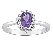 amethyst oval ring with cubic zirconias