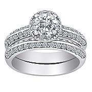 cubic zirconia crystal round bridal set