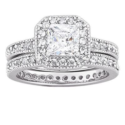 Cubic Zirconia Square Bridal Ring Set