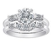 cubic zirconia round baguette bridal set