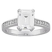 large emerald cut cubic zirconia engagement ring