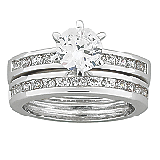 round cubic zirconia wedding band set 7