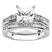 cubic zirconias wedding band set
