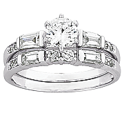 baguette round wedding ring set