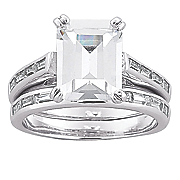 emerald cut cubic zirconia bridal set