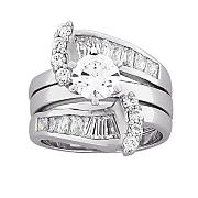platinum over sterling silver round baguette bridal set