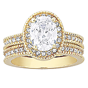 cubic zirconia and goldtone oval bridal set