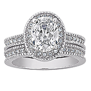 cubic zirconia and silvertone oval bridal set