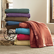 satin trimmed down alternative blanket