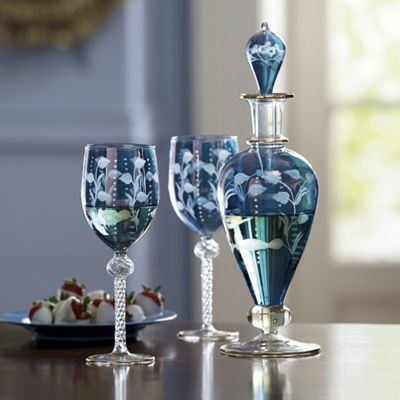 Handmade, Mouth-Blown Wine Glasses and Decanter