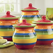 4 piece multistripe canister set