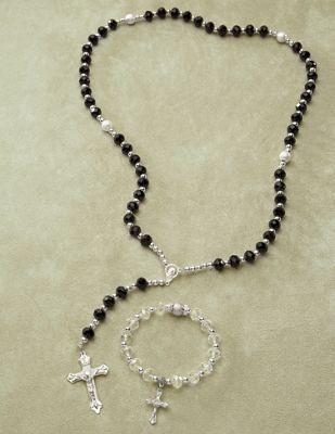 Rosary Beaded Necklace & Bracelet