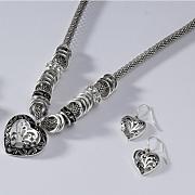 heart necklace earring set 1