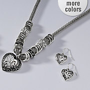 heart necklace earring set 1