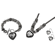 heart bracelet and necklace earring set