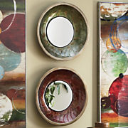 set of 2 lacquered bowl mirrors