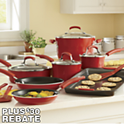 14 piece gradient aluminum cookware with porcelain enamel exterior by rachael ray