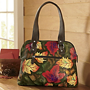 autumn leaves leather handbag