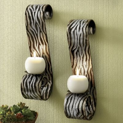 Set of 2 Zebra Sconces from Montgomery Ward
