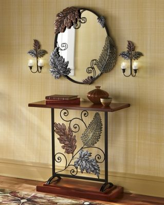 Autumn Leaves Console, Mirror and Pair of Sconces