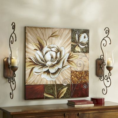 Hand-Painted Magnolia Canvas & Metal Glass Wall Sconce