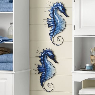 Set of 2 Glass Seahorses
