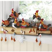6 piece rooster shelf sitter set