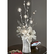 lighted ivory poinsettia bouquet