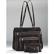 3-Piece Suede Patchwork Handbag Set