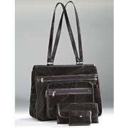 3 piece suede patchwork handbag set
