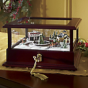 train showcase lighted music box by mr christmas