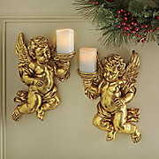 set of 2 golden cherub candleholders