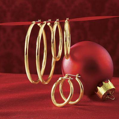 3-Pair Hoop Earrings Set