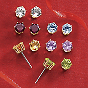6 pair gemstone post earrings set